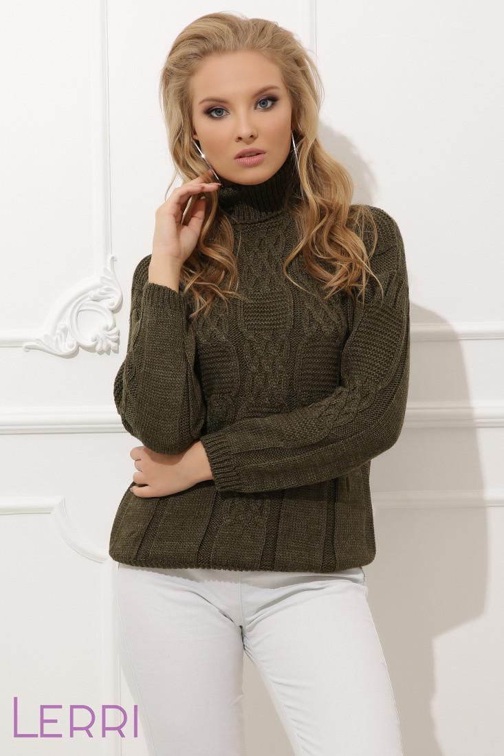 Затишний жіночий теплий светр на зиму хакі
