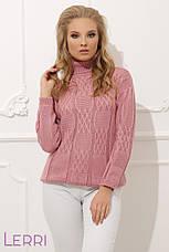 Уютный женский теплый свитер на зиму хаки, фото 3