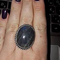 Красивое кольцо с натуральным камнем лабрадор в серебре. Кольцо с лабрадором 20 размер Индия