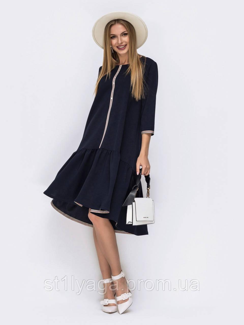Сукня трапеція з з руквавом три чверті і подовженою спинкою