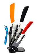 """Ножи керамические на подставке (набор 3 ножа+чистилка)(3"""" 5"""" 6"""")"""