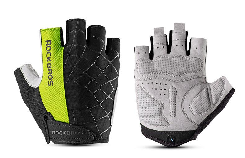 Перчатки RockBros Spyder, черно-зеленые, L