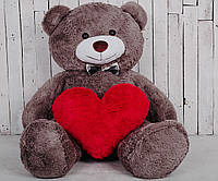 Большой плюшевый медведь с сердцем Yarokuz Джеральд 165 см капучино (YK-0059)