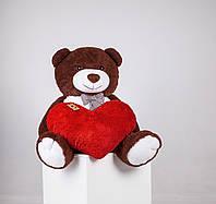 Большой плюшевый медведь с сердцем Yarokuz Джеральд 165 см шоколадный (YK-0061)
