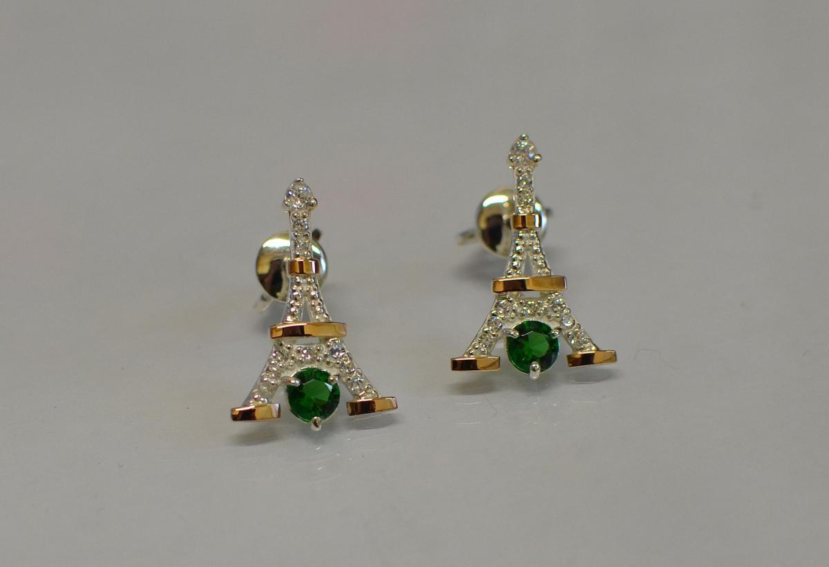 Серьги-вкрутки серебряные с золотыми пластинами