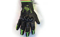 Мотоперчатки кожаные FOX MS-368-BG (закр.пальцы, протектор-усилен, р-р L,M,XL, черный-салатовый)