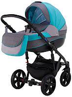 Детская коляска 2 в 1 Adamex Prince TIP 21-C бирюзовый - серый лен - графит лен, фото 1