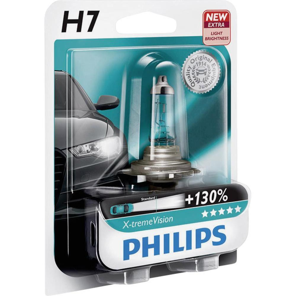Лампа Philips 12972XV+B1New H7 X-treme Vision 12V 55W Px26d +130% (блистх1шт)