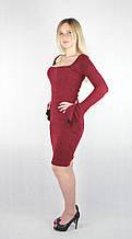 Бордовое женское платье А-силуэт