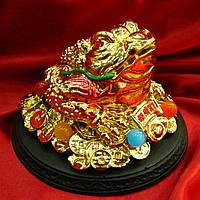 Жаба золотая на подставке (10х14х14 см)