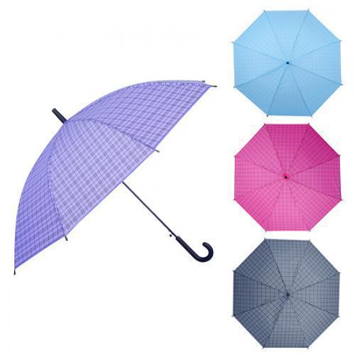 """Зонт-трость полуавтомат ПВХ """"Клетка"""" r53.5см 8сп"""