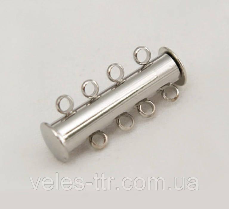 Замок Слайдер магнітний срібло 25х13 мм на 4 нитки