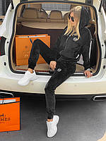 ⭐ Женский черный велюровый спортивный костюм Philipp Plein (реплика)