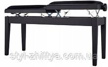 Банкетка для піаніно з регульованою висотою для 2-х чорний матовий