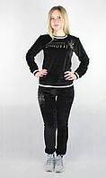 Женский спортивный велюровый костюм черного цвета