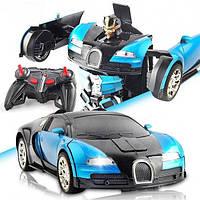 Машинка Трансформер Bugatti Robot Car с пультом Size 118 Синяя