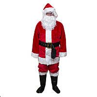 """Костюм """"Дед Мороз"""" для взрослого, материал - плюш, красный."""