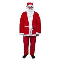 """Костюм """"Дед Мороз"""" для взрослого, материал - вельвет, красный."""