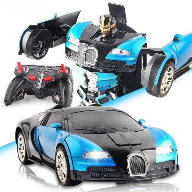 Машинка Трансформер Bugatti Car Robot з пультом Size 112 Синя