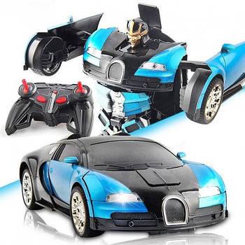 Машинка Трансформер Bugatti Car Robot з пультом Size 118 Синій