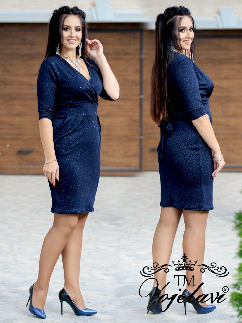 Короткое женское трикотажное платье с напылением из блёсточек 48, 50, 52, 54