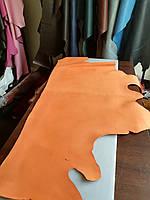 Натуральная кожа КРАСТ без покрытия , цвет рыжий (апельсиновый )1.4-1.6 мм