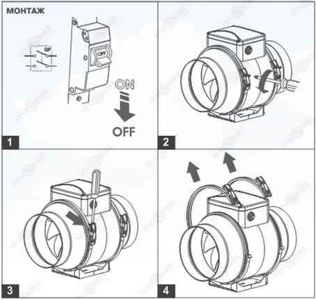 Порядок (последовательность) монтажа канального вентилятора ВЕНТС ТТ ПРО 250