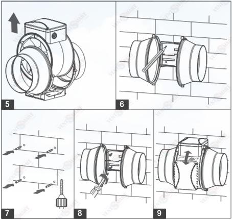 Монтаж ВЕНТС ТТ ПРО 250 ― разметка места установки и крепление вентилятора