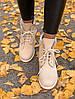 Зимние женские ботинки Timberland Nude Fur (Тимберленд, бежевые / нюдовые) внутри мех - Фото