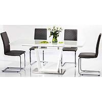 Стеклянный стол Lauren 140*85(180) 82490, цвет - белый