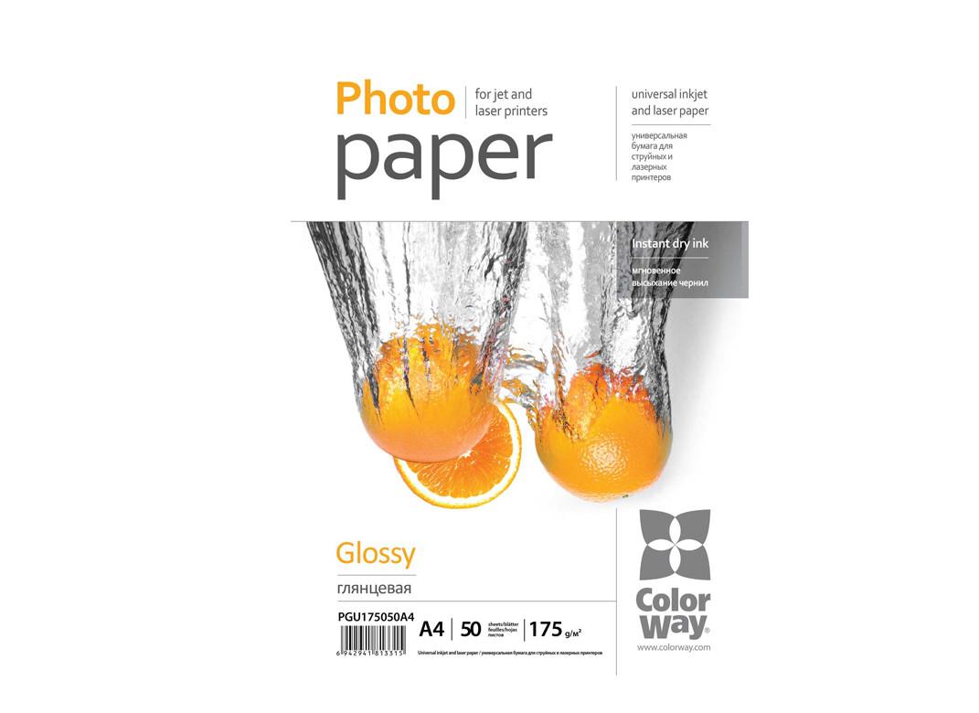 Фотопапір ColorWay А4 175г, глянцевий універс., ПГУ175-50 (PGU175050A4)