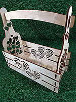 "Декоративная корзина, деревянный ящик для цветов ""Сердечки"""