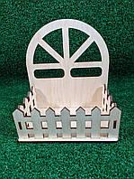 Декоративная корзина, деревянный ящик, коробка для цветов, кашпо из фанеры