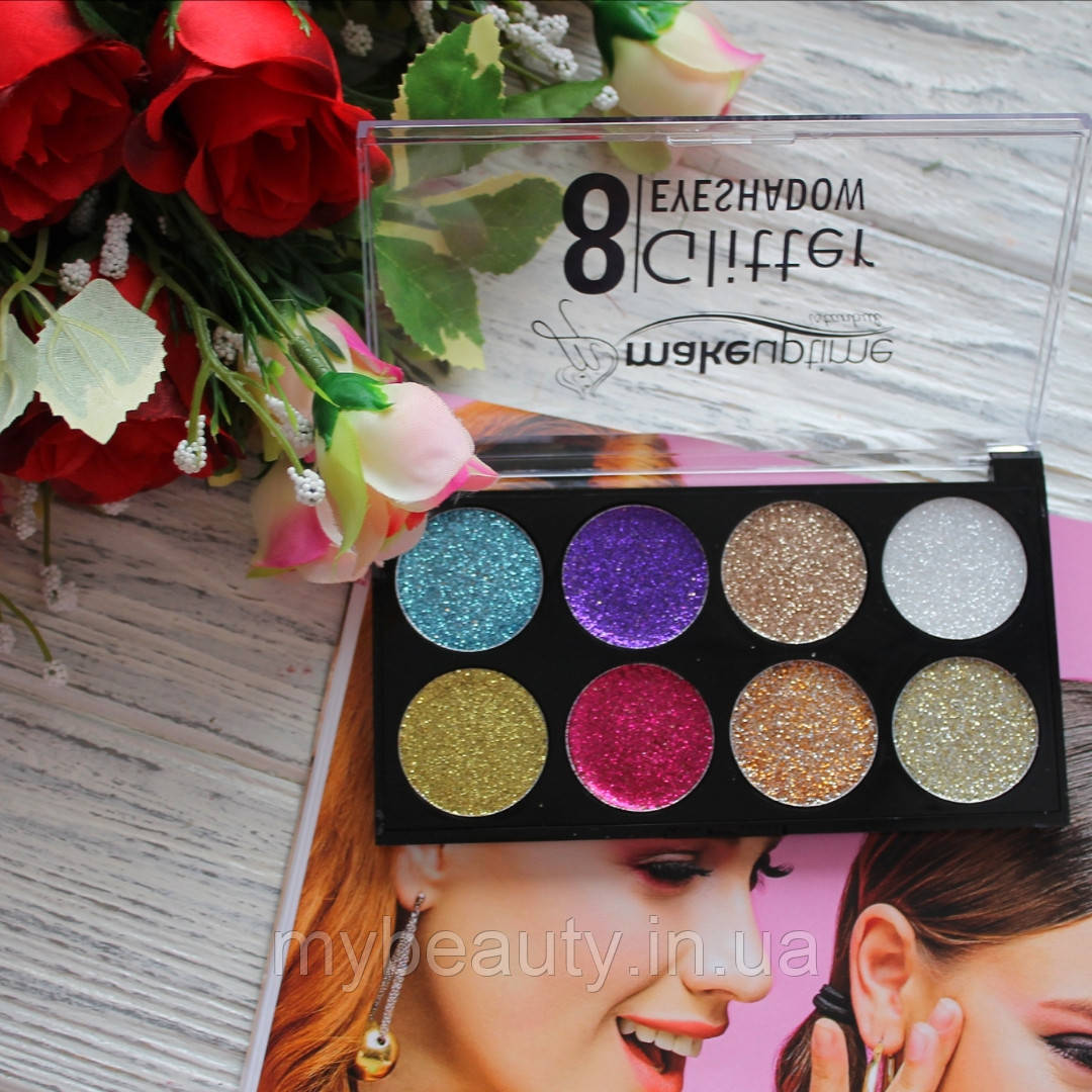 Палетка глиттеров для век Seven Cool 8 GLITTER Eyeshadow Makeup time istanbul 8-ми цветные