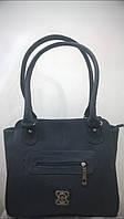 женская сумка тёмно серая с  украшением и декоративным кармашком