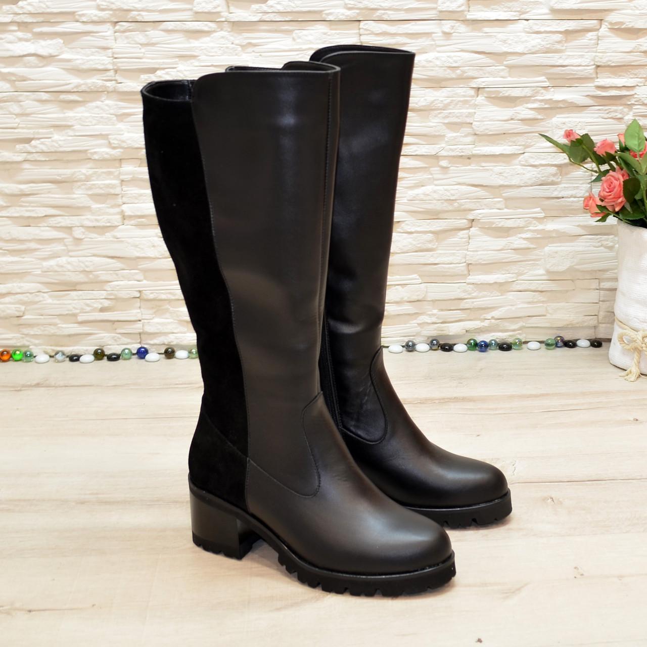 Сапоги женские кожаные на невысоком каблуке, цвет черный. Батал!