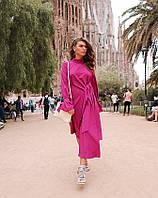 Платье ассиметричного кроя фуксия, код 2297