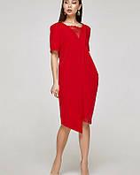 Платье ассиметрия красное, код 2319