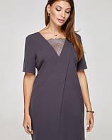 Платье ассиметрия серое, код 2319