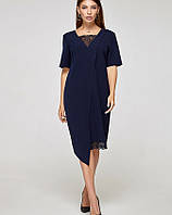 Платье ассиметрия синее, код 2319