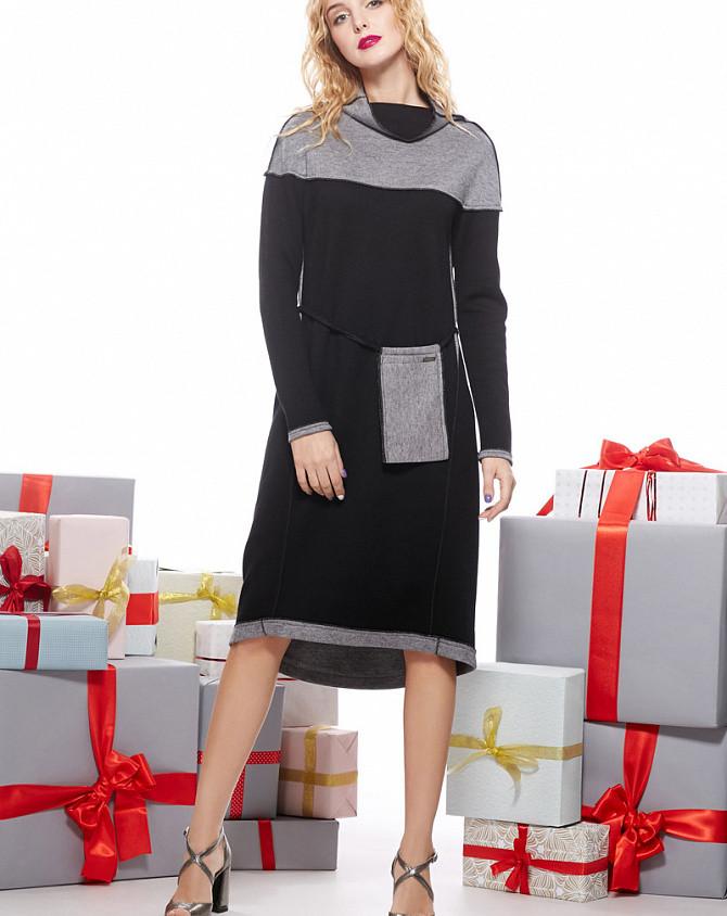 Платье женское теплое ангоровое двестороннее черно-серое Modna KAZKA