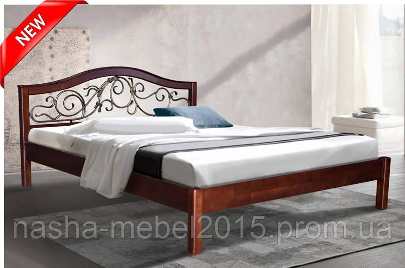 Деревянная кровать полуторная из ольхи Илонна 1.6 м.
