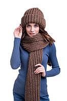 Зимний женский комплект крупной вязки