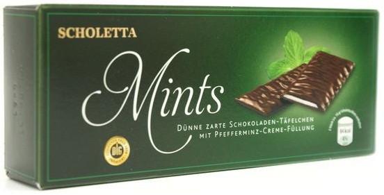 Шоколадні пластини з м'ятним праліне Scholetta Chocolate Mints, 300 г