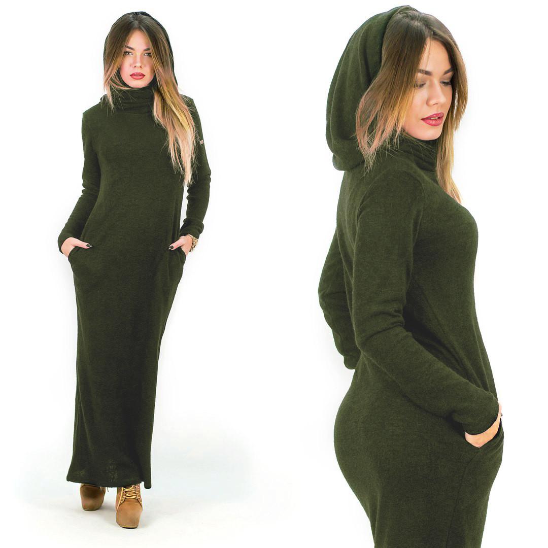 Теплое платье с капюшоном / ангора Арктика / Украина 1-511-1