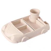 Детская бамбуковая посуда Машинка, набор из 2-х тарелок и чашки BP19 Car Pink - 149775