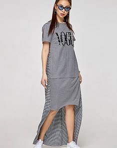 Платье с удлиненным шлейфом комбинированное серое, код 2331