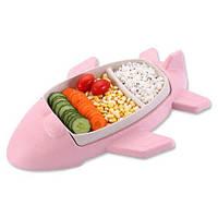 Детская бамбуковая посуда Самолет, двухсекционная тарелка с подставкой BP15 Airplane Pink - 149772