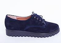 Туфли из натуральной темно синей замшевой кожи №306-1, фото 1
