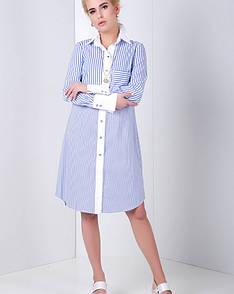 Платье-рубашка на пуговицах синее, код 2029